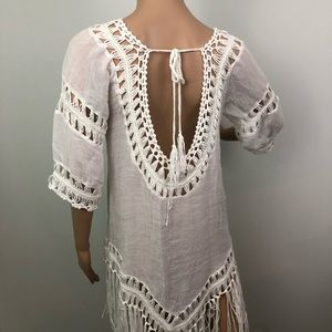 d1a11574eaa65 Swim - Sheer Beach Swimsuit Cover Up Fringe Boho White